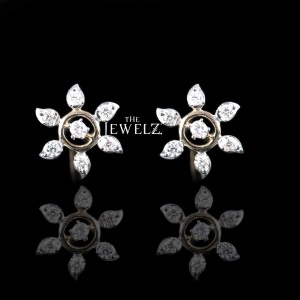14K Gold 0.17 Ct. Genuine Diamond Floral Studs Earrings Birthday Gift For Her