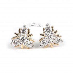 14K Gold 0.24 Ct. Genuine Diamond Tiny Floral Stud Earrings Wedding Gift For Her