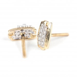 14K Gold 0.20 Ct. Genuine Pave Diamond Bar Stud Earrings Engagement Gift For Her