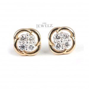 14K Gold 0.15 Ct. Genuine Diamond Minimalist Stud Earrings Best Anniversary Gift