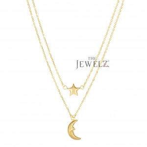 14K Yellow Gold Moon & Star Double Graduated Strand Necklace Christmas Jewelry
