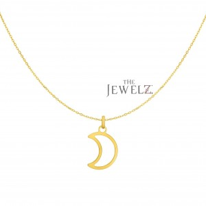 14K Yellow Gold Shiny Crescent Moon Celestial Necklace Christmas Fine Jewelry