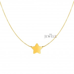 14K Solid Yellow Gold Shiny Flat Extendable Star Necklace Christmas Jewelry