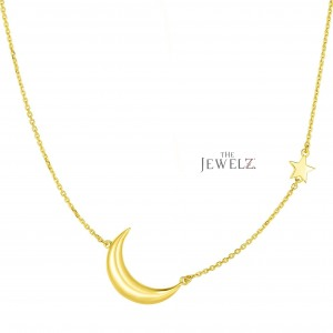 14K Solid Yellow Gold 17'' Crescent Moon & Star Necklace Christmas Fine Jewelry