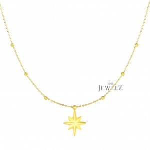 14K Solid Yellow Gold 18'' Starburst Pendant Necklace Christmas Fine Jewelry
