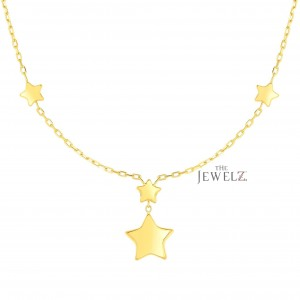 14K Solid Yellow Gold 20 mm Drop Element Shiny Star Necklace Christmas Jewelry