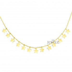 14K Solid Yellow Gold 17'' Multi Star Necklace Christmas Fine Jewelry