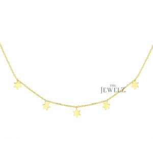 14K Solid Yellow Gold 17'' 5 Star Christmas Fine Necklace With Spring Ring Clasp