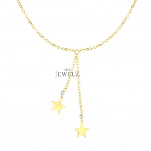 14K Solid Yellow Drop Chain Star Necklace With Lobster Clasp Christmas Jewelry