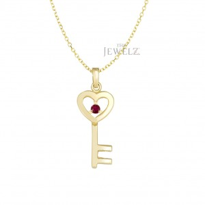 14K Gold 0.05 Ct. Genuine Ruby Heart Key Pendant Necklace Mother's Day Jewelry