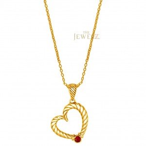 14K Gold 0.05 Ct. Genuine Ruby Rope Finish Heart Fine Necklace Mother's Day Gift