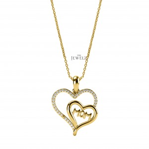 14K Gold 0.18 Ct. Genuine Diamond Heart Shape MOM Mother's Day Pendant Necklace