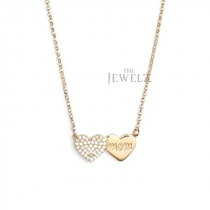 14K Gold 0.27 Ct. Genuine Diamond Heart Mom Pendant Necklace Mother's Day Gift