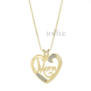 14K Gold 0.08Ct. Genuine Diamond Love you MOM Pendant Necklace Mother's Day Gift