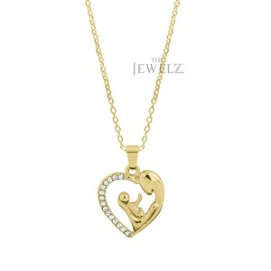14K Gold 0.08 Ct. Genuine Diamond Mother's Day Pendant Necklace Gift For MOM
