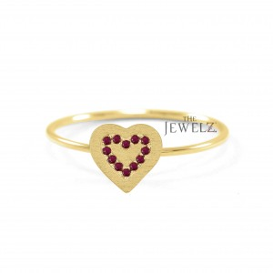 14K Gold 0.15 Ct. Genuine Ruby Concentric Heart Ring For Mom Mother's Day Gift