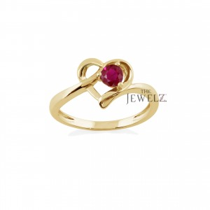 14K Gold 0.15 Ct. Genuine Ruby Gemstone Mother's Day Special Heart Ring For MOM