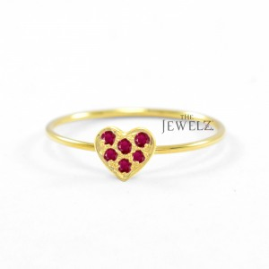14K Gold 0.12 Ct. Genuine Ruby Gemstone Heart Ring For Mom Mother's Day Gift