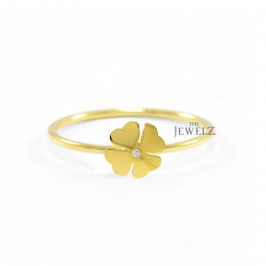 14K Gold 0.04 Ct. Genuine Diamond Floral Ring Fine Jewelry Size - 3 to 9 US