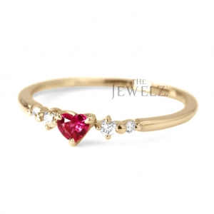 14K Gold Genuine Diamond And Heart Shape Pink Tourmaline Gemstone Wedding Ring