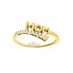 14K Gold 0.12 Ct. Genuine Diamond Mom Ring Mother's Day Gift Fine Jewelry