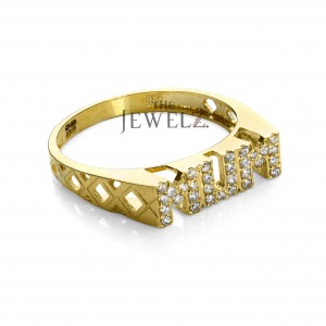 14K Gold 0.16 Ct. Genuine Diamond 3 mm  Band MUM Ring Mother's Day Special Gift
