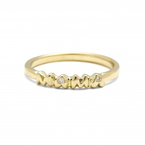 14K Gold 0.02 Ct. Genuine Diamond MAMA Ring Special Mother's Day Gift For MOM