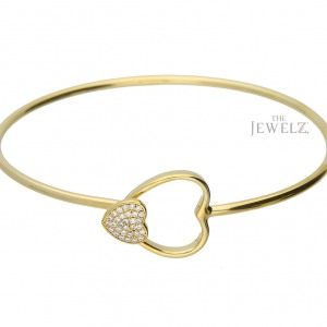 14K Gold 0.19 Ct. Genuine Diamond Double Heart Bangle Bracelet Fine Jewelry