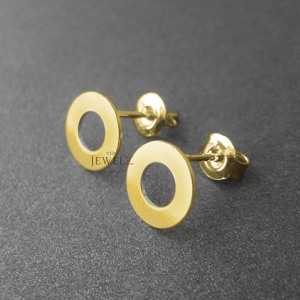 14K Solid Gold Two Concentric Circle Geometrical Studs Earrings Fine Jewelry