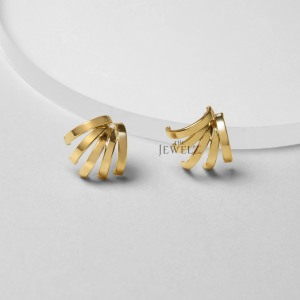 14k Solid Plain Gold Five Claw Huggies Earrings Fine Jewelry-New Arrival