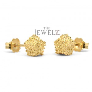 14K Solid Gold Tiny Studs Earrings With Golden Granules Fine Jewelry