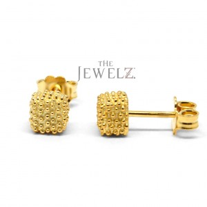 14K Solid Gold Tiny Minimalist Studs Earrings With Golden Granules Fine Jewelry