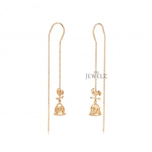 14K Solid Gold Rooster Weather Vane -Church Bell Threader Earrings Fine Jewelry