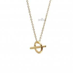 14K Solid Gold Circle Bar Dainty Geometrical Pendant Necklace Fine Jewelry