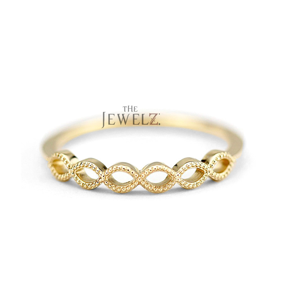 14K Solid Gold Hollow Marquise Shape Bezel Anniversary Band Ring Fine Jewelry