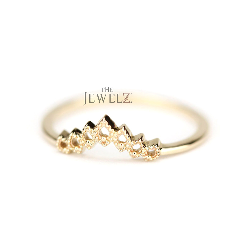 14K Solid Gold Hollow Bezel Crown Design Wedding Ring Fine Jewelry Size-3 to 8US