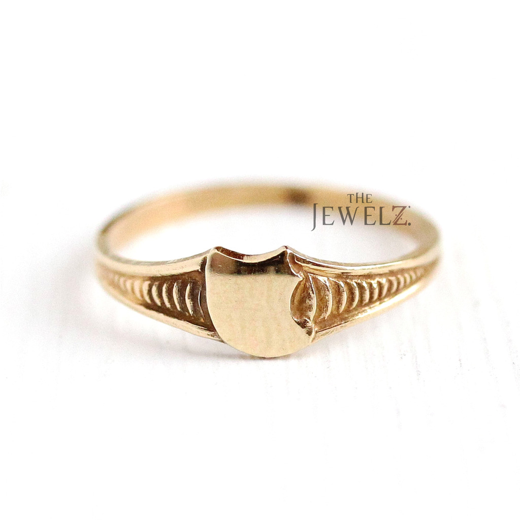 14K Solid Gold Art Deco Vintage Signet Ring Fine Jewelry Size - 3 to 8 US