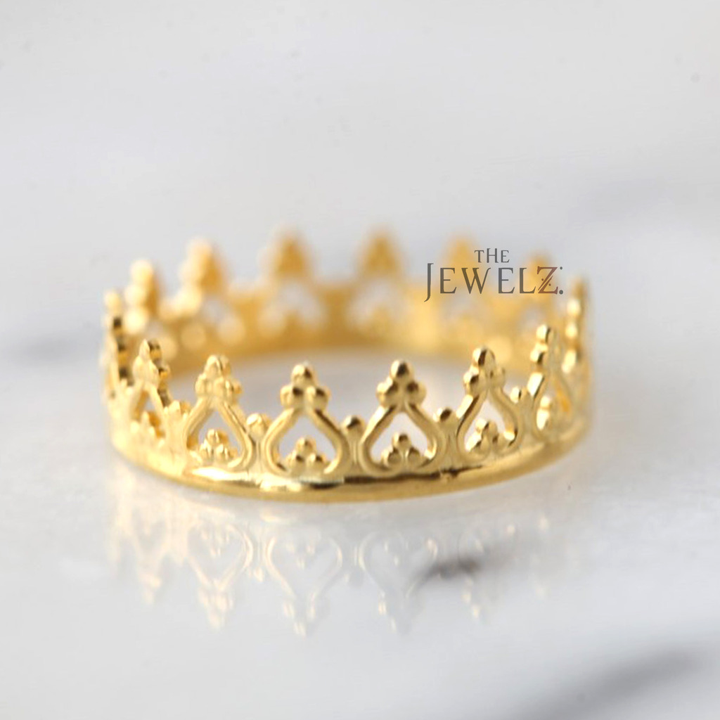 14K Solid Gold Crown Design Vintage Engagement Ring Fine Jewelry Size-3 to 8 US