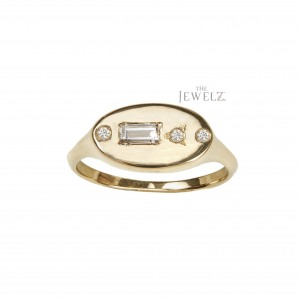 14K Gold 0.15 Ct. Genuine Round And Baguette Diamond Classic Signet Wedding Ring