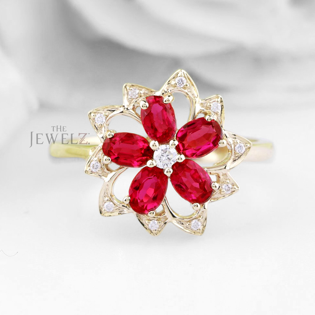 14K Gold Genuine Diamond And Ruby Gemstone Vintage Floral Band Ring Fine Jewelry
