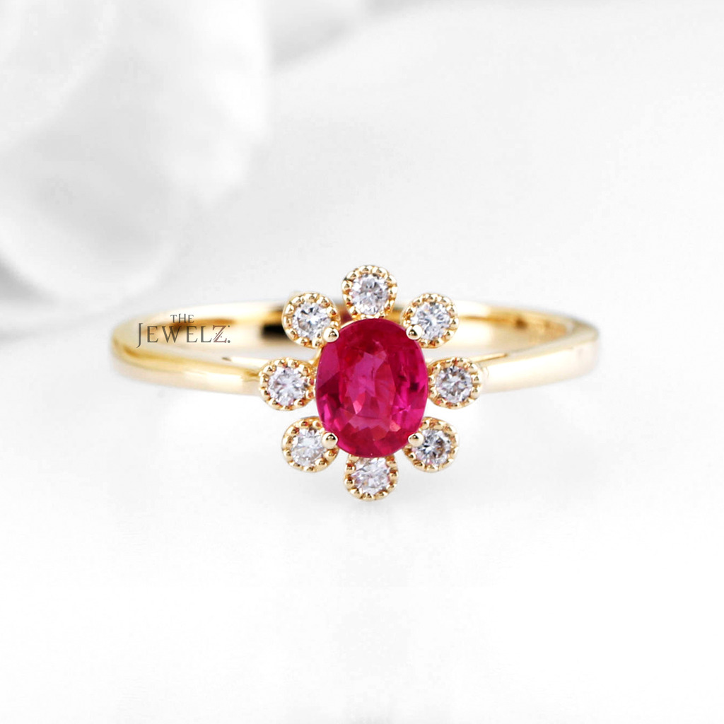 14K Gold Genuine Diamond And Ruby Gemstone Vintage Floral Ring Fine Jewelry