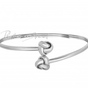 Solid 950 Platinum Shiny Double Love knot Tip Bypass Type Mother's Day Bangle