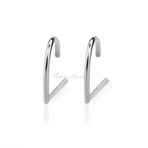 Solid 950 Platinum 13 mm Woman's Suspender Stud Earring Handmade Fine Jewelry