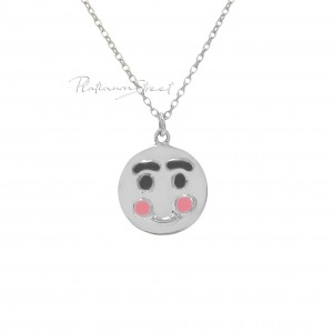 Solid 950 Platinum 10 mm Emoticon Disc Pendant Necklace Handmade Fine Jewelry
