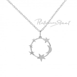 Solid 950 Platinum Round Moon Star Pendant Necklace Handmade Fine Jewelry