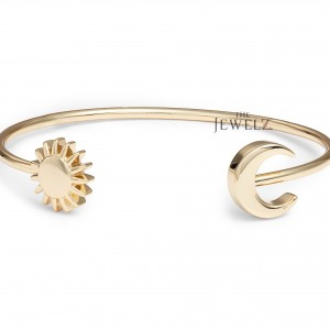 14K Solid Gold Crescent Moon And Sun Charm Cuff Bangle Bracelet Fine Jewelry