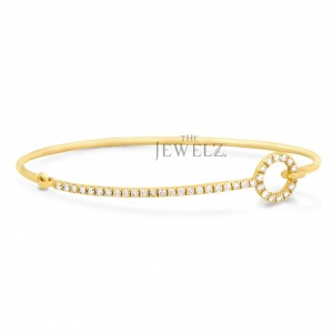 14K Gold 0.37 Ct. Genuine Diamond Bangle Bracelet Fine Jewerly-New Arrival