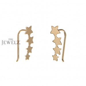 14K Solid Gold Four Star Ear Climber Earrings Birthday Gift Fine Jewelry
