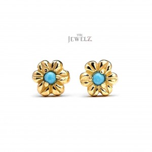 14K Gold 0.08 Ct. Genuine Turquoise Gemstone Floral Studs Earrings Fine Jewelry