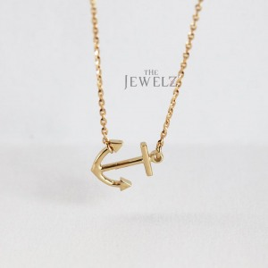 14K Solid Gold Sideways Anchor Charm Pendant Necklace Fine Jewelry